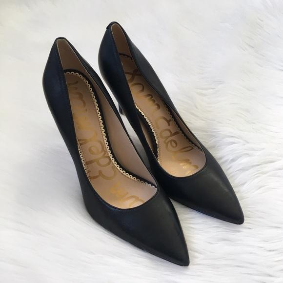 bb3e207fd Sam Edelman Black Leather Pointed Toe Heels. M 5cb6ad6529f030f33ff01cbb